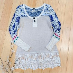 FREE PEOPLE lace panel Icelandic sweater, S.
